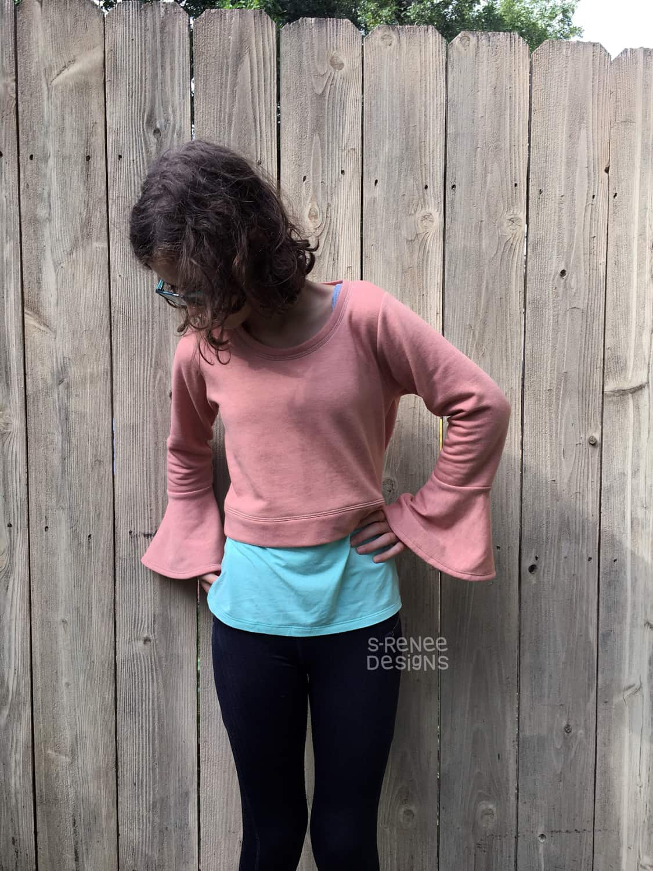 Foliis Crop Bell Sleeve Sweater