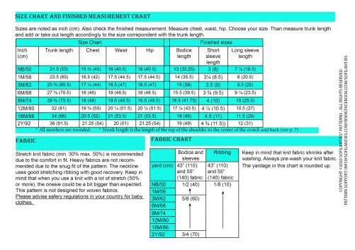 Advena Size/Fabric Chart - EN